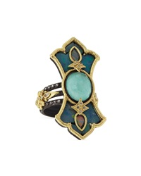Armenta Multi Band Scroll Ring With Green Turquoise White Quartz Doublet Diamonds