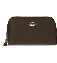 Coach Crossgrain Leather Cosmetic Case Li Bronze