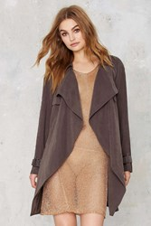 Nasty Gal Trench Warmer Belted Coat Charcoal