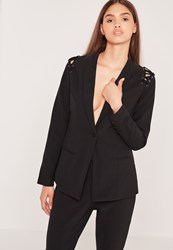 Missguided Eyelet Lace Up Shoulder Blazer Black Black