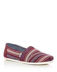 Toms Women's Classic Tribal Woven Slip On Flats Dark Red Multi