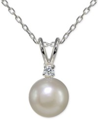Giani Bernini Freshwater Pearl 10Mm And Cubic Zirconia Pendant Necklace In Sterling Silver Only At Macy's