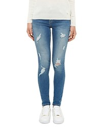 Ted Baker Kimle Ripped Skinny Jeans In Mid Blue