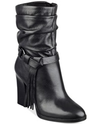 Guess Tamsin Slouch Booties Women's Shoes Black Leather