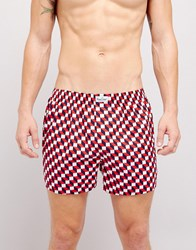 Happy Socks Woven Boxers With Check Print Red