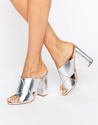 Missguided Cross Strap Block Heeled Sandals Silver