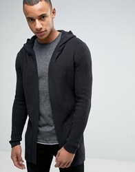 Esprit Ribbed Draped Hooded Cardigan Black
