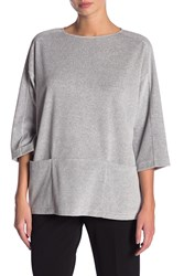 Lafayette 148 New York Velour Pouch Pocket Pullover Light Nickel