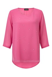 James Lakeland Long Sleeve Embellished Top Pink