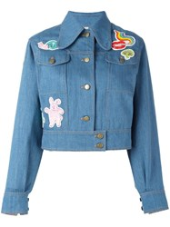 Olympia Le Tan Beaded Patch Denim Jacket Blue
