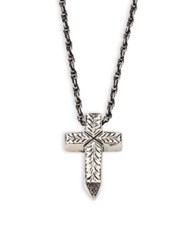 Cast Of Vices 0.925 Silver Engraved Cross Pendant Rope Chain Necklace