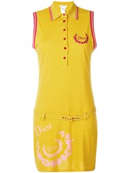 Christian Dior Vintage Sleeveless Belted Polo Dress Yellow And Orange