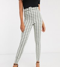 Asos Design Tall Check Jacquard Skinny Trouser With Buckle Multi