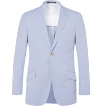 Richard James Blue Seishin Slim Fit Striped Cotton Blend Seersucker Blazer Light Blue