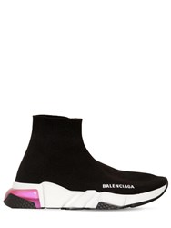 Balenciaga 30Mm Speed Clear Soul Knit Sneakers Black