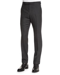 Tom Ford O'connor Base Gingham Trousers Charcoal