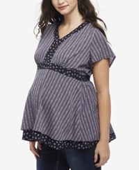 Motherhood Maternity Plus Size Babydoll Blouse Black Multi Geo