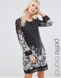 Yumi Petite Shift Dress In Polka Dot Border Print Black