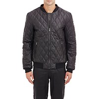 Lot 78 Men's Quilted Leather Bomber Jacket Black Blue Black Blue