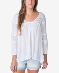 O'neill Baja Crochet Trim Peasant Top A Macy's Exclusive White