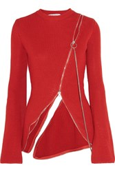 Givenchy Zip Detailed Ribbed Cotton Blend Sweater Red