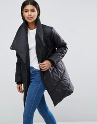 Asos Padded Jacket With Waterfall Front Black