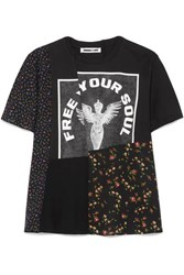 Mcq By Alexander Mcqueen Patchwork Printed Cotton Jersey And Crepe De Chine T Shirt Black