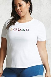 Forever 21 Plus Size Squad Graphic Tee White Pink