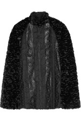 Anna Sui Embroidered Faux Leather Trimmed Faux Fur Cape Black