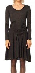 Leon Max Fine Wool Jersey Long Sleeved Dress With Knotted Details