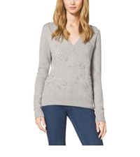 Michael Kors Embroidered V Neck Cashmere Sweater Pearl Grey