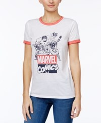Freeze 24 7 Marvel Juniors' Graphic Ringer T Shirt White Red