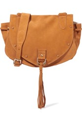 See By Chloe Collins Medium Suede And Textured Leather Shoulder Bag Sand