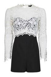 Topshop Petite Lace Panel Playsuit Monochrome