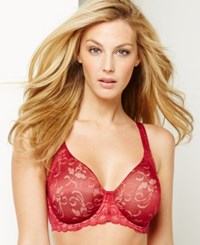 Lilyette By Bali Beautiful Support Lace Minimizer Bra 977 Armature Red