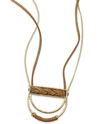 Inc International Concepts Gold Tone Braided Cord Half Circle Necklace Only At Macy's