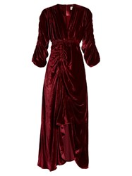 Preen Rebecca V Neck Ruched Velvet Dress Dark Red