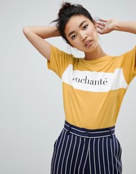 Neon Rose Relaxed T Shirt With Enchante Print Yellow