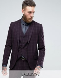 Only And Sons Skinny Suit Jacket In Check Purple Navy