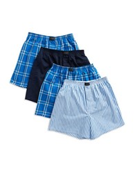 Jockey 4 Pack Stay New Woven Boxers Blue Assorted