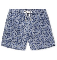 Hartford Mid Length Paisley Print Swim Shorts Blue