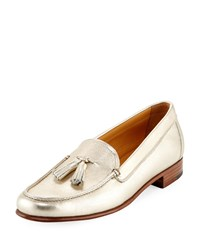 Gravati Metallic Leather Tassel Moccasin Gold