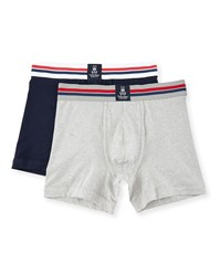 Psycho Bunny Motion Tagless Boxer Briefs Two Pack Heather Gray Navy