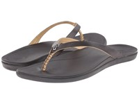 Olukai Ho'opio Leather Onyx Black Women's Sandals