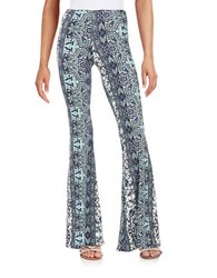 Vintage Havana Printed Flared Pants Navy