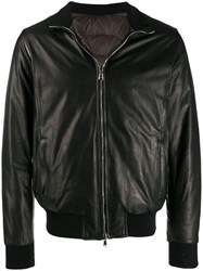 Barba Zipped Bomber Jacket Black