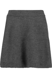 American Vintage Winters Ribbed Knit Merino Wool Mini Skirt Gray
