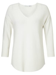 Oui Star Rib Knit V Neck Jumper Gardinia