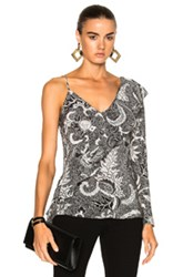 Diane Von Furstenberg Asymmetric Ruffle Front Blouse Top In Abstract Black Floral White Abstract Black Floral White