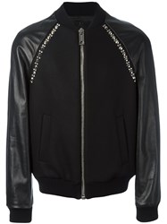 Les Hommes Leather Sleeve Bomber Jacket Black